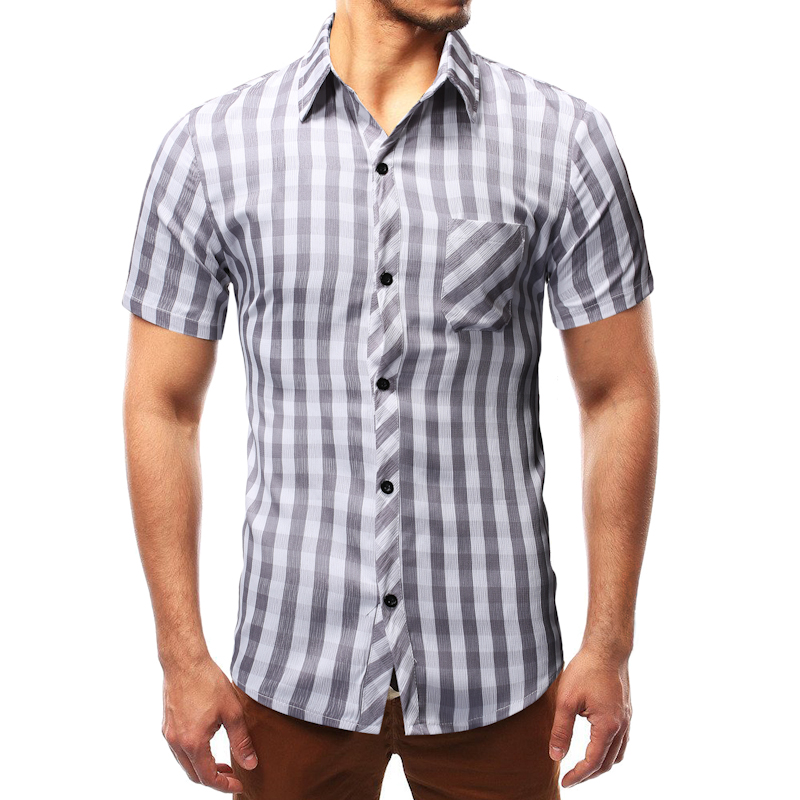 Summer Men's Plaid Shirt Business Casual Thin Short Sleeve Social Shirt Male Blouse Plus Size M-3xl