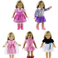 5set Clothes American Girl Doll Dress 18 Inch Doll Clothes And Accessories Dresses B801 Only Doll