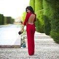 AA01 Элегантные Комбинезон Женщины Красный Sexy Спинки Боди О-Образным Вырезом Осень С Длинным Рукавом Комбинезон Комбинезон