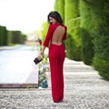 AA01 Elegant Rompers Women Red Sexy Backless Bodysuit O-Neck Autumn Long Sleeve Jumpsuit Jumpsuit