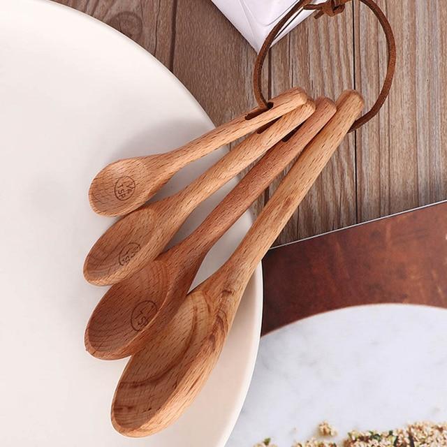 4pcs Wood Measuring Spoon Set Kitchen Sugar Spice salt Spoon Baking Measuring