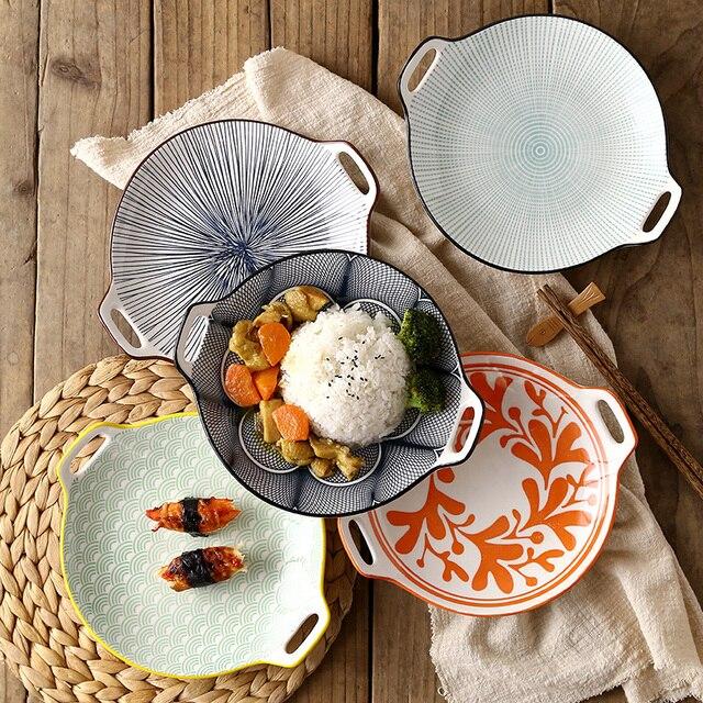 EECAMAIL Nordic Kreative Einfache Moderne Unterglasur Farbe Keramik Geschirr  8 Zoll Binaural Anti Verbrühungen Haushalt