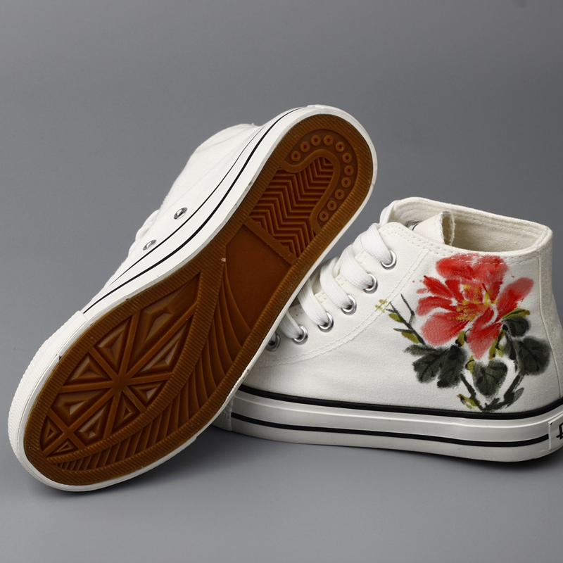 475c17c3086f Flower Painting Unisex Designs Hand Painted Canvas Shoes Personalized Men  Adult Casual Shoes Cute Platform White Shoes-in Men s Casual Shoes from  Shoes on ...