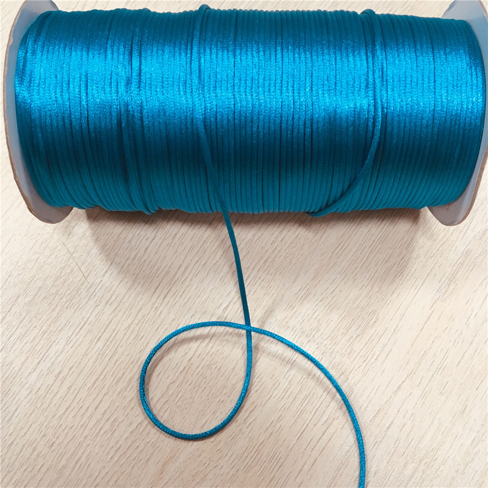 Rattail Satin Cord-Turquoise with gold thread-10 yards-Made in the USA