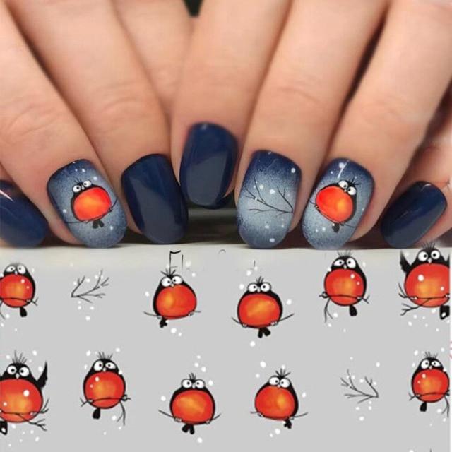 손톱에 네일 스티커 손톱에 대한 만화 패턴 스티커 물 전송 스티커 데칼 매니큐어 장식 플라이 버드 네일 아트