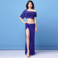 2019 Women Cheap Class Wear Off shoulder Top and Skirt Side Slit Belly Dance Costume Set for Girls (with shorts)