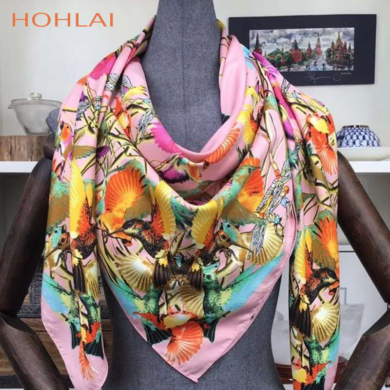 New 130*130 CM Luxury Brand 100%Twill Silk Woman   Scarf   Square   Scarves   bird paying homage to the phoenix Silk   Scarf     Wraps   Hijab