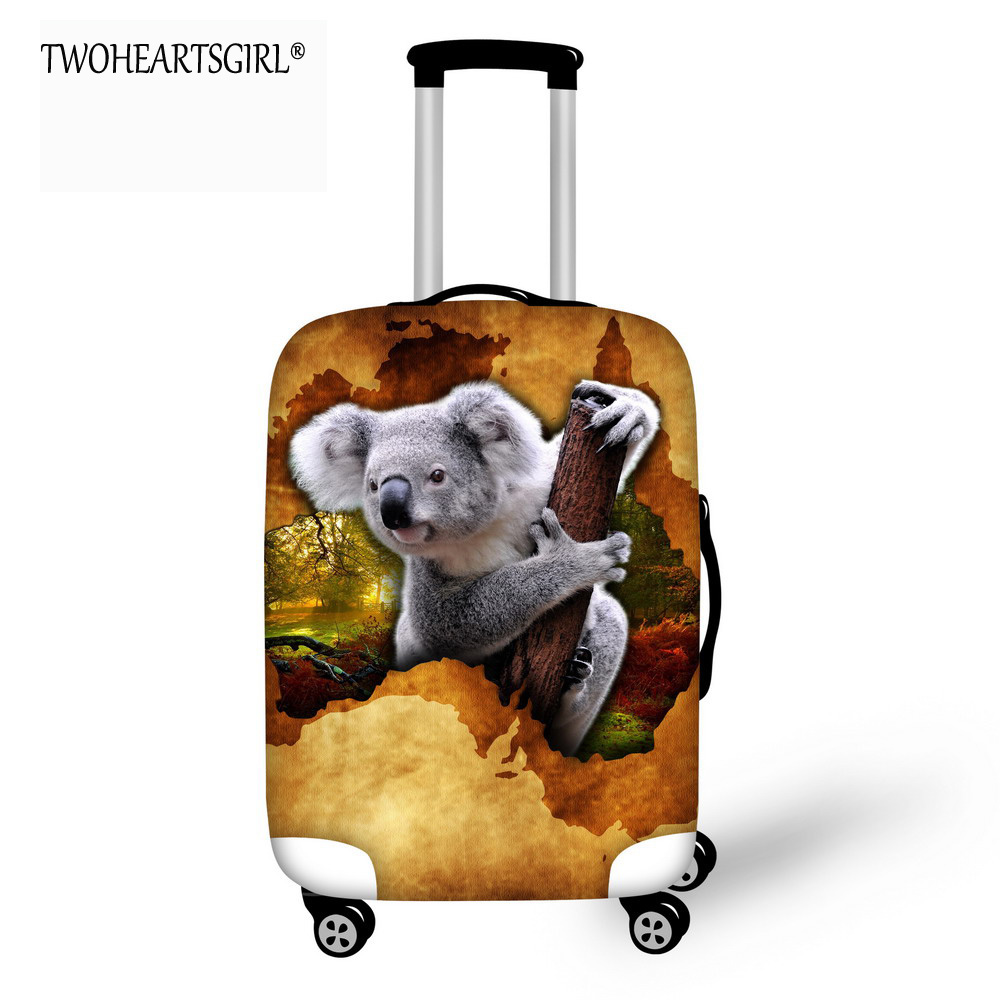 TWOHEARTSGIRL Cute Koalas Printed Travel Accessories Luggage Protective Elastic Covers Stretch Bags For Suitcase Cover For 18-32