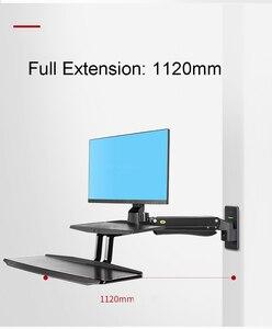 Image 4 - NB MC55 ergonomiczna podstawka do siedzenia stacja robocza 24 35 calowy uchwyt monitora do montażu ściennego z składana klawiatura taca amortyzator gazowy