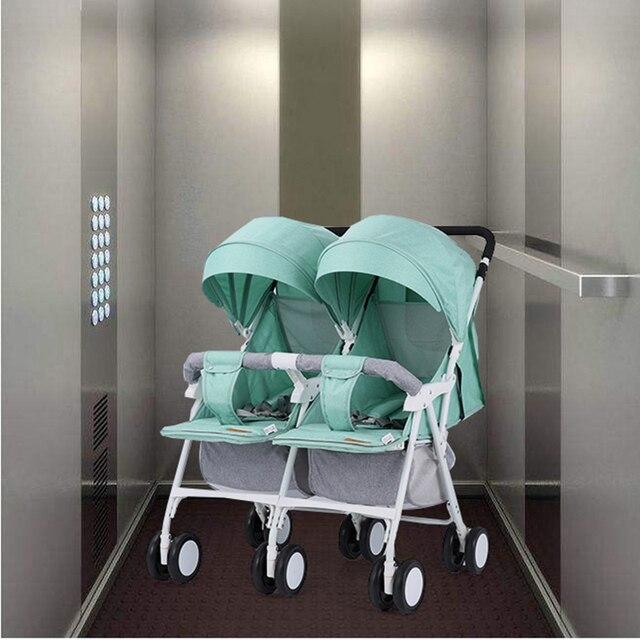 Licht Gewicht Twin Kinderwagen Baby Kinderwagen voor Twee Baby 'S Kan Zitten Kan Liggen Kinderwagen 1