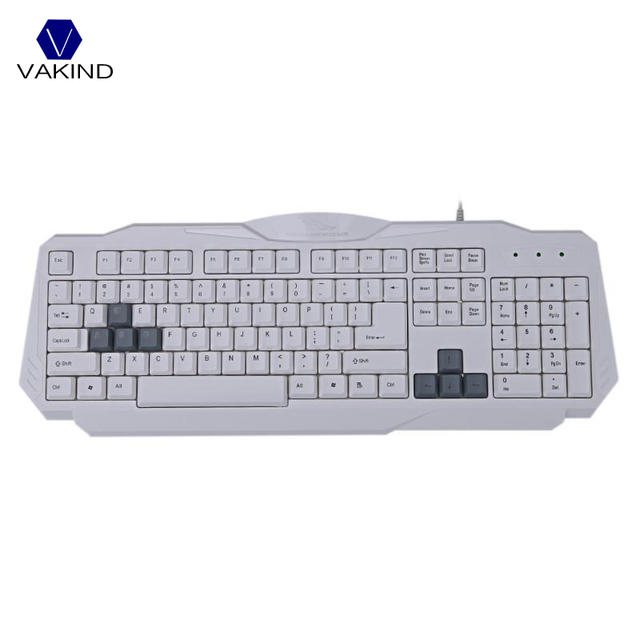 White 108 Keys USB Wired Keyboard Computer Gaming Gamer Capacitive ...