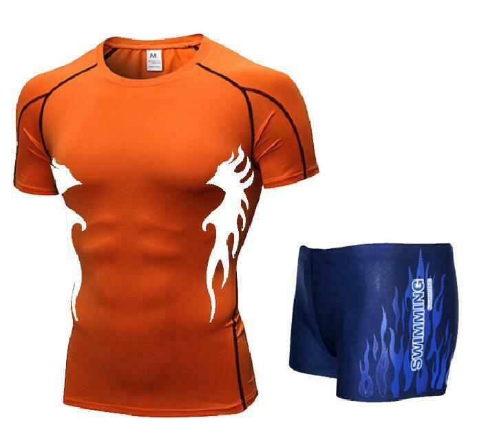 Men Swim Top T Shirt Trunks Boxers Shorts Swimwear Short Pants SwimSuit Swimming Wear Short Sleeves For Beach Spa Pool Er32
