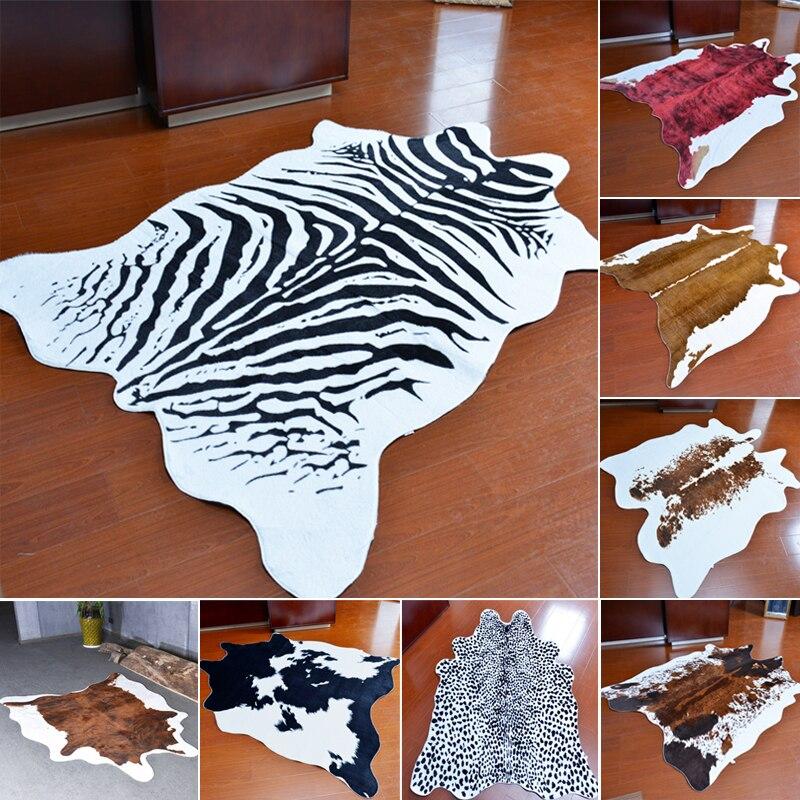 Zèbre vache léopard tapis Imitation peaux d'animaux naturel forme tapis grande taille salon décoration antidérapant tapis de sol