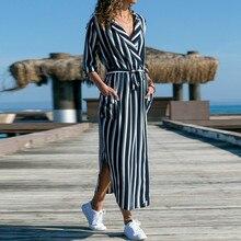 Striped Elegant Chiffon Shirt Dresses Women 2019 Summer Dress Beach Long Sleeve Long Dress Boho Floral Print Maxi Dress Vestidos