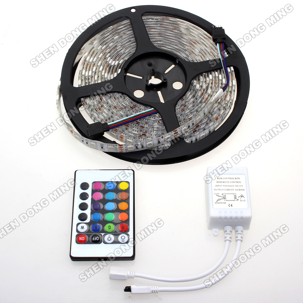 Waterproof RGB led strip set changeable color flexible led light 5050 SMD 5M 300leds led Rope Ligh t+ 24keys Remote Controller ...