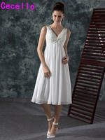 2017 New Informal Chiffon Tea Length Short Wedding Dresses With Straps V Neck Pleats A Line
