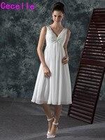 2017新しい非公式シフォン茶長ショートウェディングドレスでストラップvネックプリーツaラインビーチウェディングドレスカジュアルカスタム