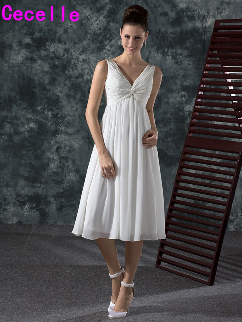 2019 New Informal Chiffon Tea Length Short Wedding Dresses With Straps V Neck Pleats A-line Beach Wedding Gowns Casual Custom
