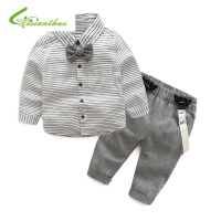 Newborn Baby Clothes Children Clothing Gentleman Baby Boy Grey Striped Shirt Overalls Fashion Baby Boy Clothes
