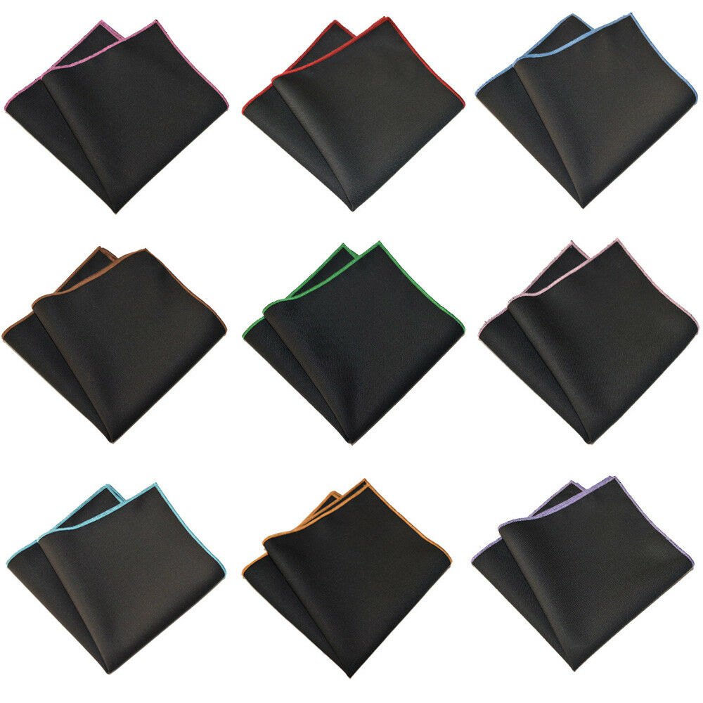 Men's Cotton Solid Color Black Pocket Square Wedding Party Handkerchief Hanky YXTIE0504