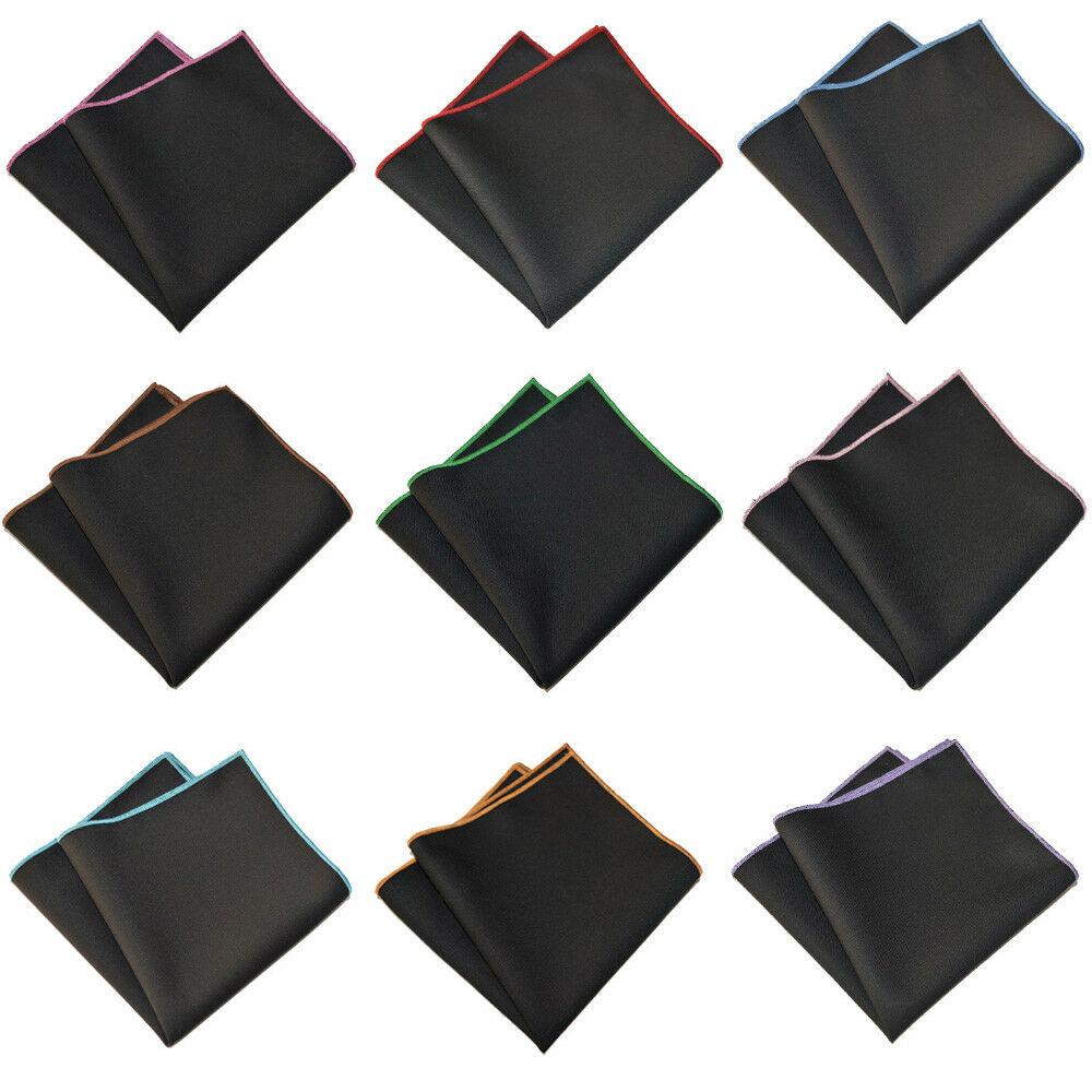 Men's Cotton Solid Color Black Pocket Square Wedding Party Handkerchief Hanky YXTIE0504