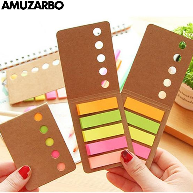 125Pages Fashion Simple Leather Note Stickers Candy Color N Times Stickers Note Book Message Board Book Marker Office Stationery