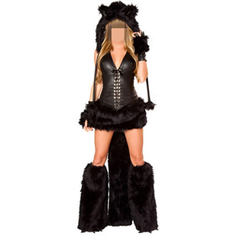 2016 Tiger Costume Onesie Footed Animal Adult Furry <font><b>Sexy</b></font> Cheshire <font><b>Cat</b></font> Black Halloween Costume for Women Fur Costumes <font><b>Cosplay</b></font> image