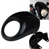 Gloss Black Motorcycle Accessories Front Headlight Fairing Cowl For 1973 UP Harley Sportster 883 1200 XL