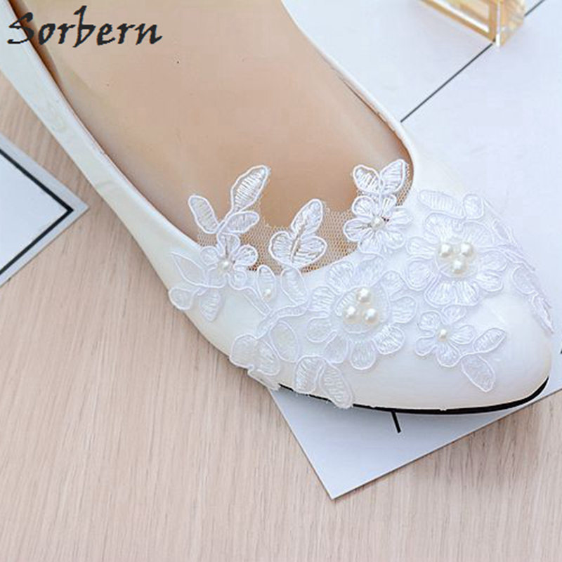 Sorbern Lace Womens Pumps Beads White Patent Leather Luxury Shoes