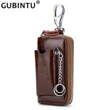 Genuine Leather Key Wallet Men Men's Cowhide Car Key Holder Pouch Bag Case Keys Organizer Housekeeper Keychain Cover Wallet Male