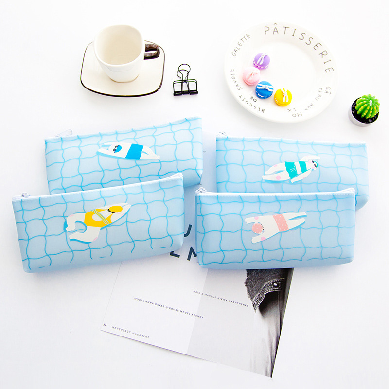3 pcs/Lot Swim Pencil Case for Girls Boys Leather Swimming Pool Pencilcase Stationery School Supplies Kids Pen Box Bag Office