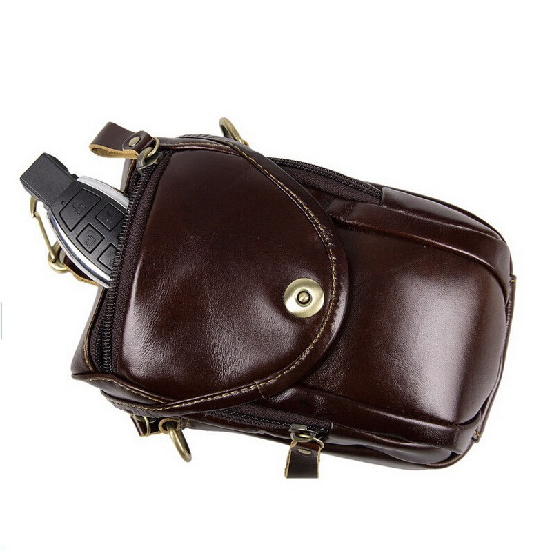 Causal cowhide leather men bags small crossbody men messenger bags genuine leather waist pack mini cell phone bag camera bag (8)