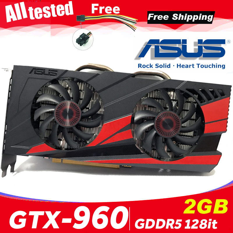 Asus GTX-960-OC-2GB GT960 GTX960 2G D5 DDR5 128 Bit nVIDIA PC Desktop Graphics Cards computer Graphics Cards PCI Express 3.0(China)