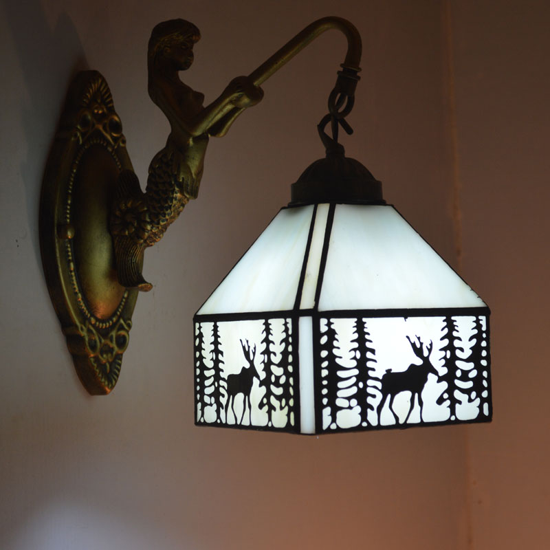 Tiffany Wall Lamp Elk Pattern Stained Glass Sconce Stairs Bedroom Light Fixtures E27 110-240V