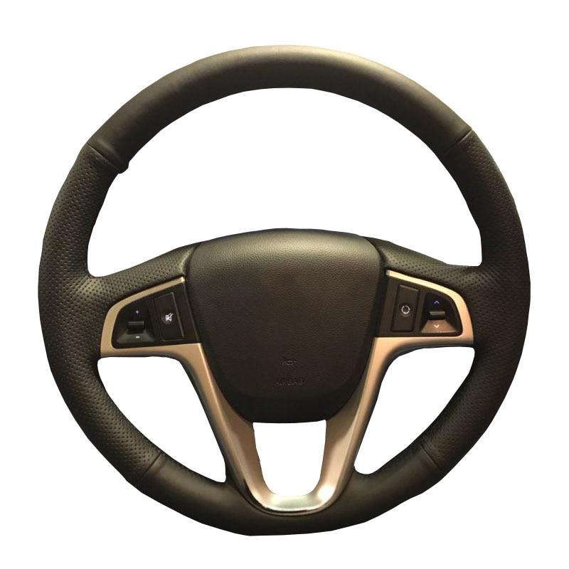 Artificiell läder bil ratt skydd för Hyundai Solaris Verna i20 - Bil interiör tillbehör - Foto 2