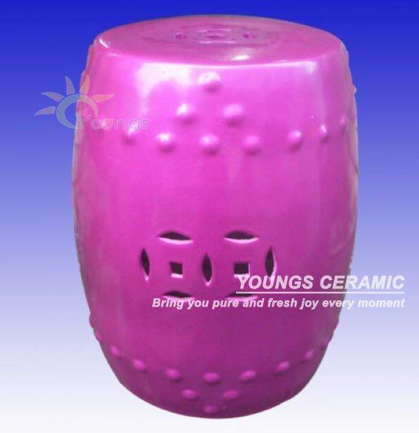 Graceful Purple Color Chinese Ceramic Porcelain Garden Stool