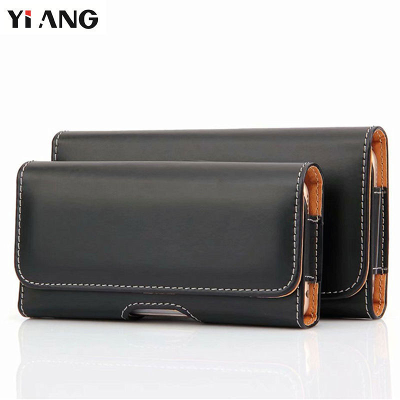 YIANG Phone Bag Men Waist Bag Casual Black Fanny Bag PU Leather 4.7~5.7 Inch Belt Case Small Mobile Phone Pouch High Quality