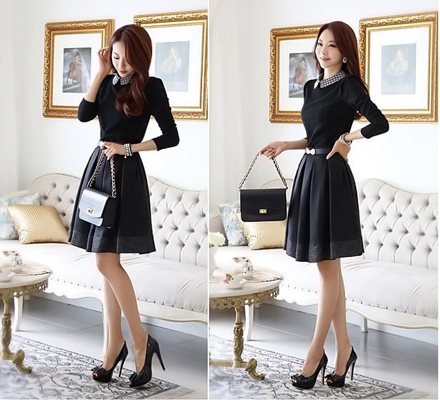 Us 26 38 Autumn And Winter Couture Autumn Outfit Code Thickened Long Slim Korean Dress High Quality Women S Casual Dress Office Uniform Di Dresses