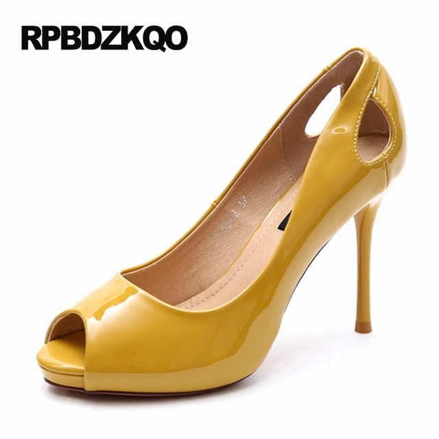 ffda8086f7 Bride Women Patent Peep Toe Scarpin High Heels Shoes Pumps Glitter Metal  Fish Mouth Sandals Yellow