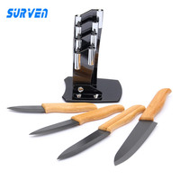 SURVEN Brand 4 In 1 Zirconia Ceramic Knife Set 3 4 5 6 Inch Black Blade
