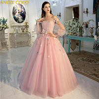 3D розовое вечернее платье с цветами; Robe De Soiree роскошный Размеры Вечерние платья турецкие вечерние платья, платье на выход платье dubai abaya