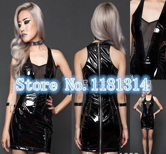 Hot Selling Plus Size S Xxl Sexy Pvc Leather Dress Women Mesh V Neck