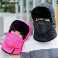 2016 New Winter Bomber With Mask Warm Cotton Adult Fur Caps For Men Women Lei Feng Thermal Skiing Ear Bomer Cap Hat Female Hats
