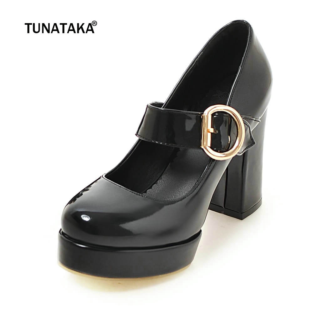 Mary Jane Thick High Heels Platform Buckle Strap Women Pumps Dress Round Toe Spring Autumn Shoes Woman xiaying smile woman pumps shoes women spring autumn wedges heels british style classics round toe lace up thick sole women shoes