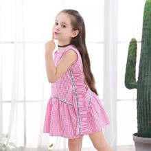 Toddler Baby Girls Summer Dresses Kids Striped Ruffle Sleeveless Clothes Tassel Collar Casual Plaid Mini Princess Dress