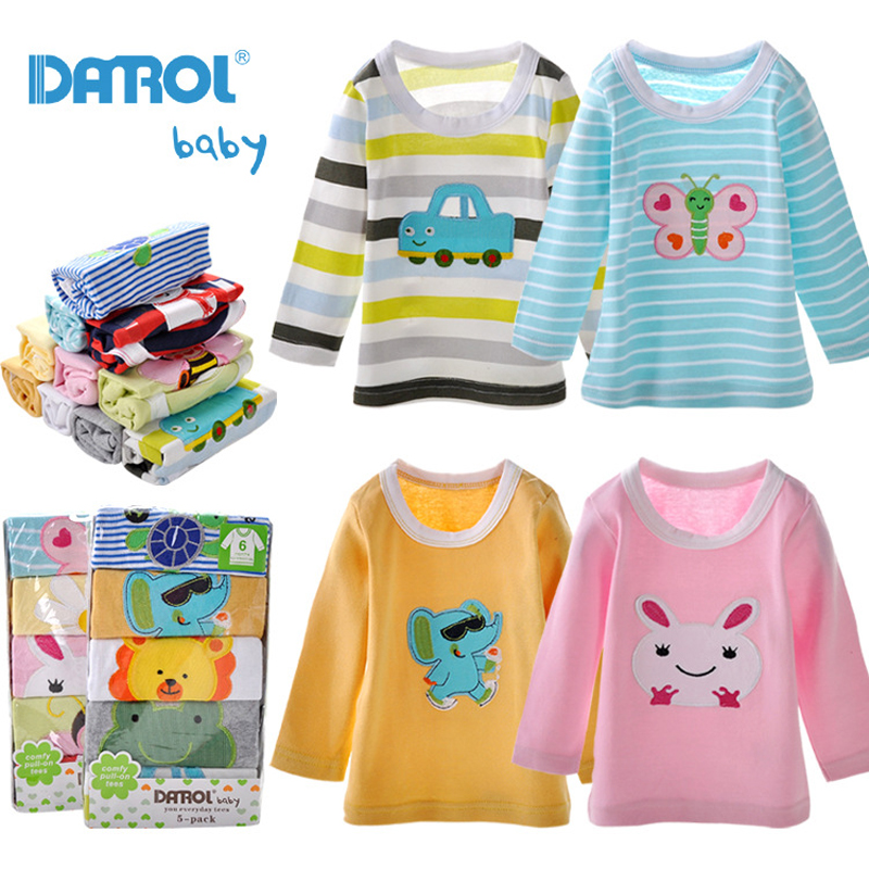 5 Pieces / Lot Baby Boys Girls T Shirt DANROL Cartoon Tee Embroidered Round Neck Long Sleeve Cotton Infant Kids Baby T-Shirt V30