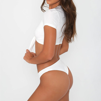 2018 Sexy V Neck Short Sleeve Front Knotted Tie Biquini Swim Bathing Suit Swimsuit Thong Swimwear Women Brazilian Push Up Bikini 1
