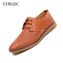 SYWGDCMen Leather Casual Shoes Summer 2019 Breathable Soft Driving Mens Handmade Flats Hollow Out Footwear Big Size 38-47