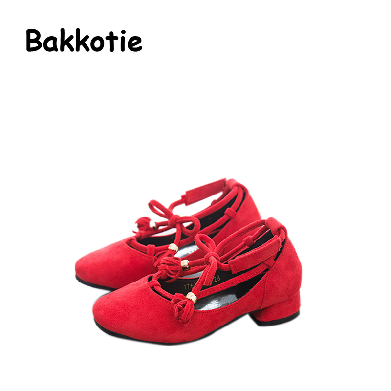 Bakkotie 2017 Fashion Autumn Baby Girl Princess Shoe Low Heel Red Flock Kid Leisure Shoe Strap Comfortable Breathable Tassel Bow