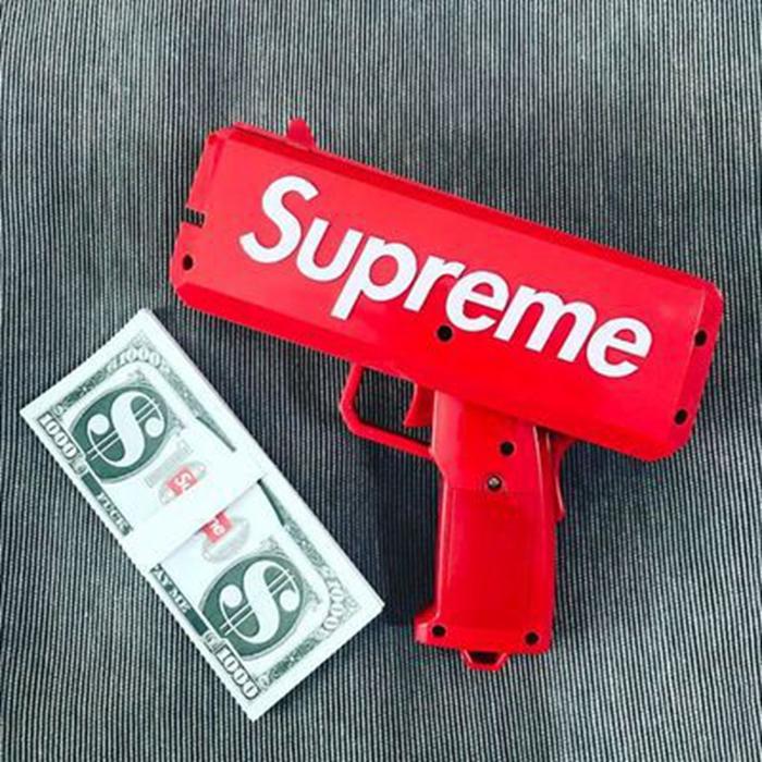 Prix pour Marque Nouvelle Suprême de Trésorerie Canon D'argent Pistolet SS17 Make It Rain D'argent Pistolet Rouge